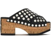 Studded leather platform clogs