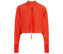 Silk and cotton-blend bomber jacket