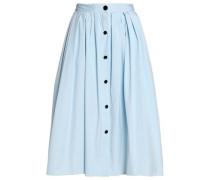 Button-detailed pleated cotton-blend poplin skirt