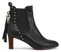 Dasha studded textured-leather ankle boots