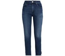 Faded High-rise Skinny Jeans Dark Denim  6
