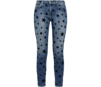 Printed Faded Mid-rise Skinny Jeans Mid Denim  3