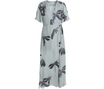 Wrap-effect Printed Silk Midi Dress Grey Green