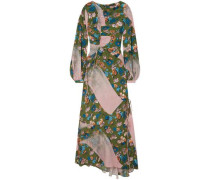 Ruched Floral-print Crepe De Chine Maxi Dress Army Green
