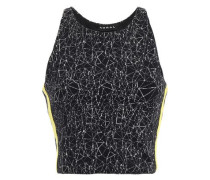 Cropped Printed Stretch-knit Top Black