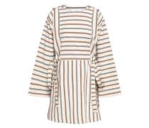 Bow-detailed Striped Cotton-canvas Mini Dress Ecru