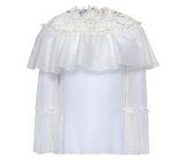 Lace-trimmed Silk-organza Blouse Ivory