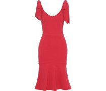 Domingo Fluted Bow-detailed Crepe Dress Tomato Red