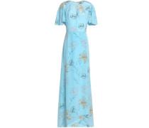 Fluted floral-print silk-georgette maxi dress