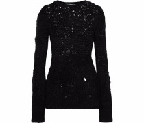 Distressed Open-knit Wool-blend Sweater Black