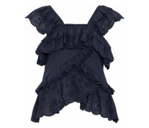 Ruffled broderie anglaise cotton-voile top