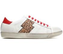 Leopard-print Calf Hair-appliquéd Distressed Leather Sneakers White