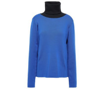 Berto Two-tone Ribbed-knit Turtleneck Top Cobalt Blue