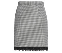Lace-trimmed houndstooth cotton mini skirt