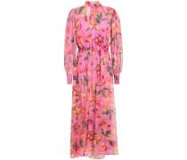 Layered Floral-print Gathered Chiffon Midi Dress Pink