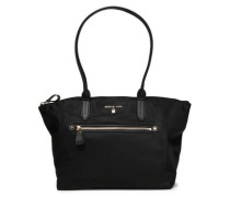 Leather-trimmed Shell Shoulder Bag Black Size --