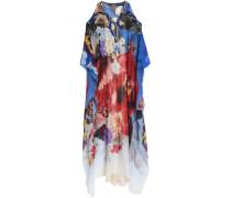 Cold-shoulder embellished floral-print silk-georgette gown