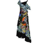 Embellished Printed Silk Crepe De Chine Gown Black