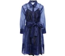 Belted Organza Mini Shirt Dress Navy