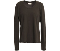 Woman Opyntale Cotton-blend Jersey Top Forest Green