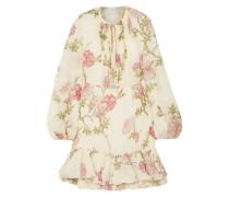 Ruffle-trimmed Gathered Floral-print Silk-chiffon Mini Dress Ivory