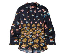 Woman Floral-print Hammered Silk-satin Blouse Navy