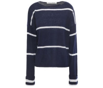 Striped Cashmere And Silk-blend Sweater Navy