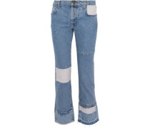 Paneled distressed high-rise flared jeans