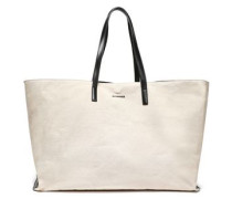 Leather-trimmed Canvas Tote Black Size --