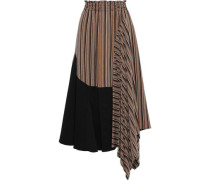 Asymmetric Poplin-paneled Striped Twill Skirt Brown