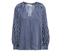 Gathered Striped Satin-twill Blouse Navy