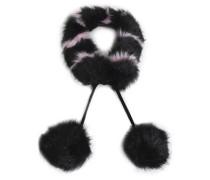 Pompom-embellished striped faux fur collar