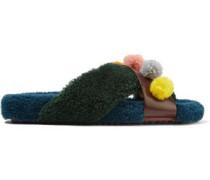 Shearling-trimmed Floral-appliquéd Leather Slides Multicolor