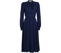 Pussy-bow Silk Jumpsuit Navy Size 0
