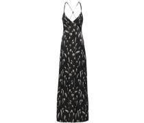 Open-back Printed Satin Maxi Dress Black