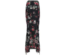 Tie-front floral-print silk-chiffon gown