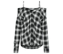 Cold-shoulder checked flannel top