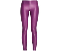 Cropped coated stretch leggings