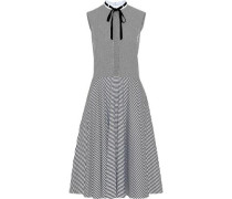 Velvet pussy-bow striped cotton-poplin dress