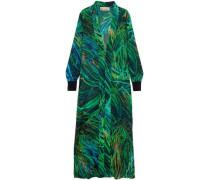 Printed Silk-blend Georgette Jacket Green