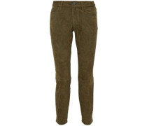 The Easy Stiletto suede mid-rise slim-leg jeans
