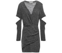 Cutout Wrap-effect Mélange Jersey Mini Dress Dark Gray