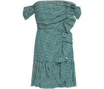 Off-the-shoulder Ruched Cotton-blend Seersucker Mini Dress Emerald