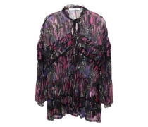 Reney Ruffle-trimmed Printed Georgette Blouse Violet
