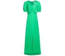 Woman Gathered Floral-jacquard Maxi Dress Bright Green