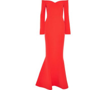 L'amour Off-the-shoulder Cady Gown Tomato Red