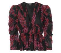 Woman Gathered Floral-print Silk-georgette Blouse Black