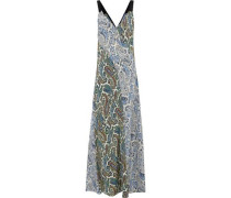 Paneled Printed Silk Maxi Dress Pastel Yellow Size 0