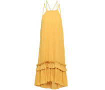Ruffled Crepe Halterneck Dress Marigold