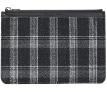 Leather-trimmed checked wool-blend clutch